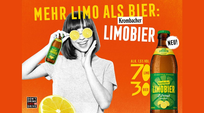 70% Limo + 30% Bier = das neue Krombacher Limobier